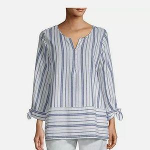 Liz Claiborne blue and white striped shirt
